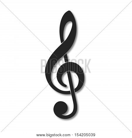 Simple Treble clef vector icon on white background