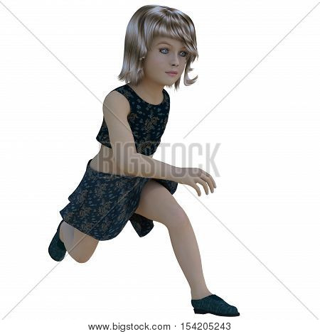 one child. She runs close in front of the camera to the right. Dark clothes. She runs close to the camera right. 3D rendering, 3D illustration