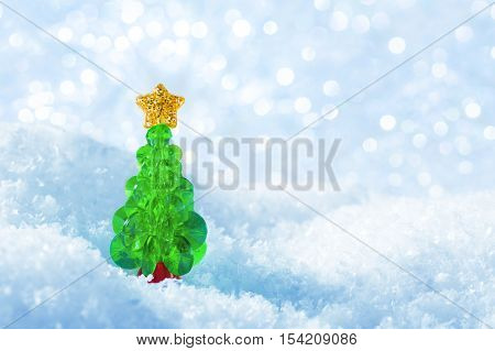 Christmas Tree on Snow Flakes Lights Background Blue Xmas Tree Decoration