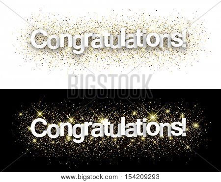 Congratulations paper banners set with shining sand. Vector illustration.