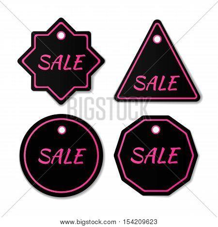 Black Friday sales tag. Black Friday sale black banner, advertising, vector illustration. Sale badge. Sale tag. Sale label. Sale banner.