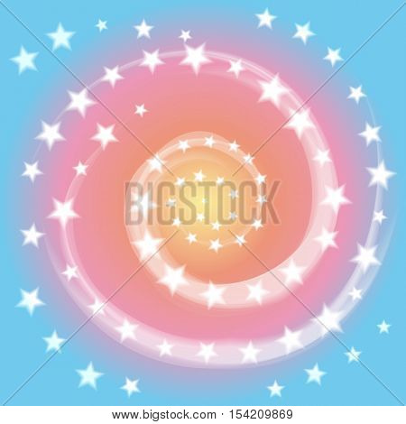 The Star Spiral on Pastel Background. White Stars and Spirals Twisted in Vortex. Suitable for textile fabric packaging and web design. Vector Illustration.
