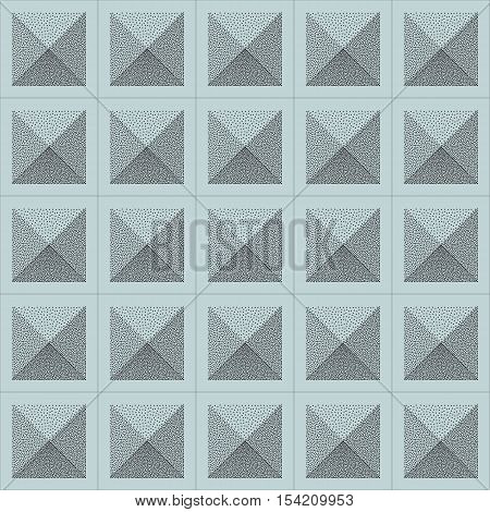 Vector Seamless Stippling Halftone Gradient Squared Pattern. Abstract Geometric Background Design