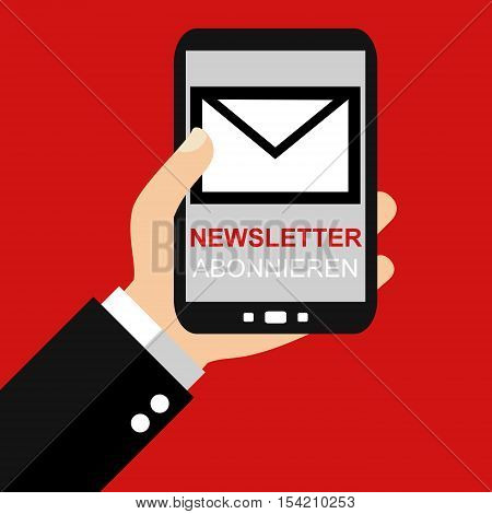 Hand holding Smartphone: Newsletter subsription german - Flat Design