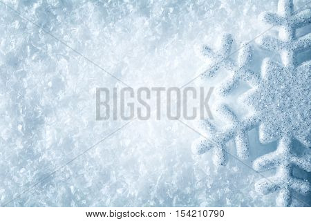 Snowflake on Snow Blue Snow Flake Crystals Background Winter Decoration