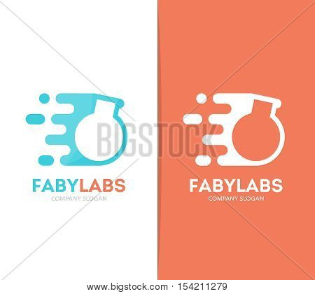 Vector fast bulb logo combination. Speed lab bottle symbol or icon. Unique science and laboratory logotype design template.