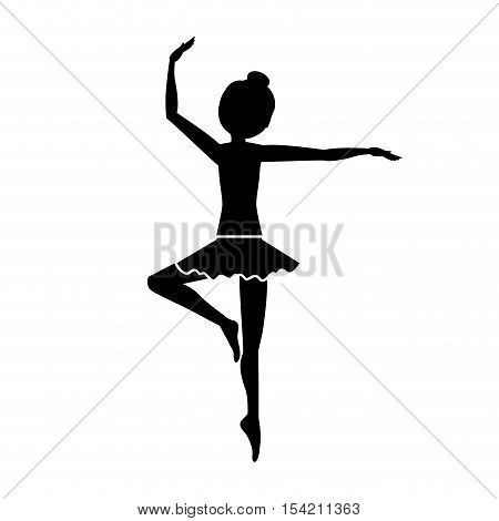 silhouette with dancer pirouette third position vector illustration