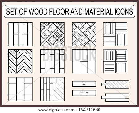 Collection of wood floor and material icons for construction design