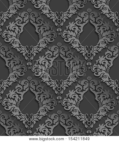 Seamless 3D Gray Damask Pattern With Shadows