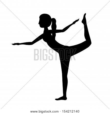 silhouette yoga woman lord of the dance pose one vector illustration