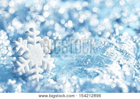 Snowflake Blue Ice Snow Flake Decoration Winter Lights Background