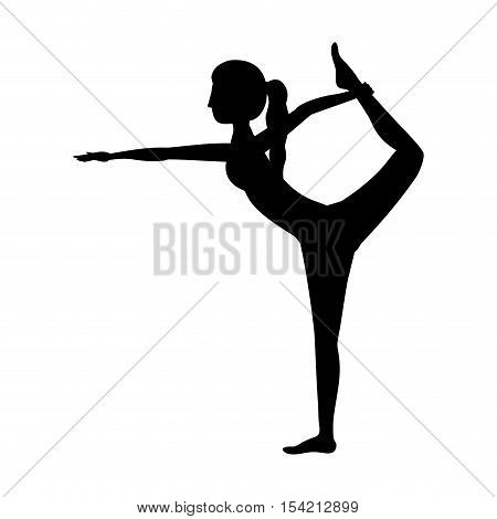 silhouette yoga woman lord of the dance pose two vector illustration