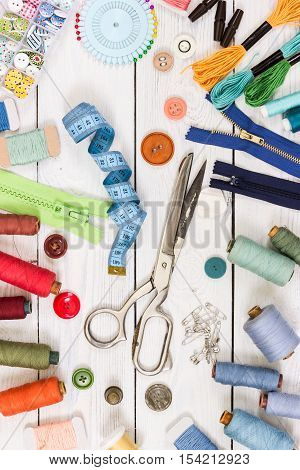 Old Scissors, Buttons, Threads, Measuring Tape And Sewing Supplies