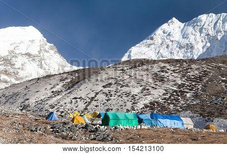Base Camp of Island Peak (Imja Tse) near Mount Everest Khumbu valley Sagarmatha national park Nepal