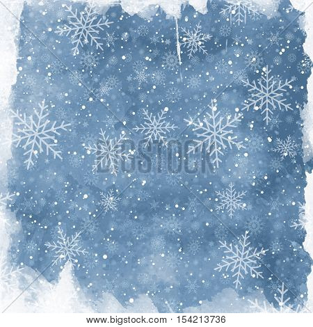 Christmas watercolor background with snowflakes