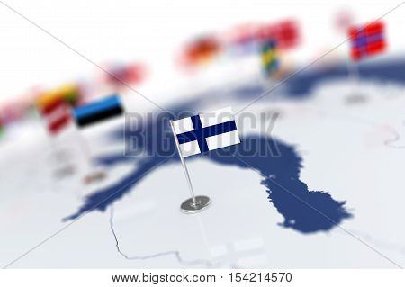Finland Flag In The Focus. Europe Map With Countries Flags