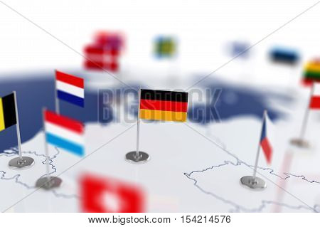 Germany Flag In The Focus. Europe Map With Countries Flags