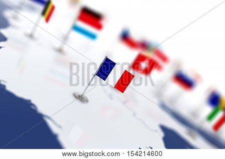 France Flag In The Focus. Europe Map With Countries Flags