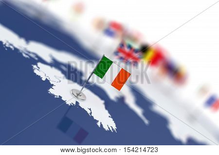 Ireland Flag In The Focus. Europe Map With Countries Flags