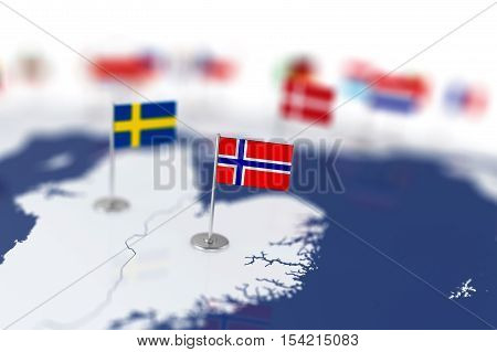 Norway Flag In The Focus. Europe Map With Countries Flags