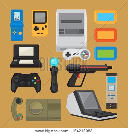 Vintage digital entertainment flat icons. Old retro game elements like joystick, cartridge and arcade game console. Vector illustration