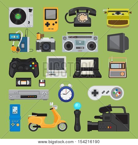 Hipster tech gadgets. 90s gadget icons like old joystick and console, gamepad and video tape. Vector illustration poster