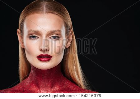 Bodypainting. Close up portrait. body art. isolated black background