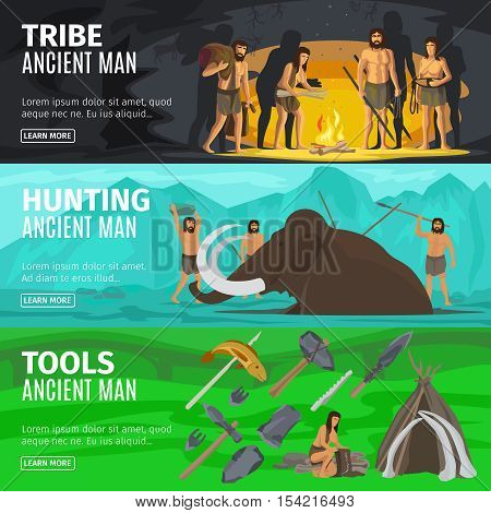 Stone age extinct extinction ancient primitive caveman evolution banners. Primitive man like Neanderthals or Homo sapiens vector illustration poster