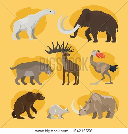 Prehistoric animals. Vector cartoon ancient mammal ice age extinct animal set like mammoth and cave lion