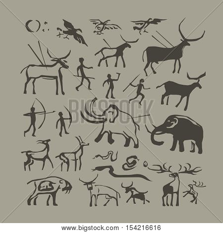 Vector rock painting. Cave man and animals anthropology primitive stone age paintings poster