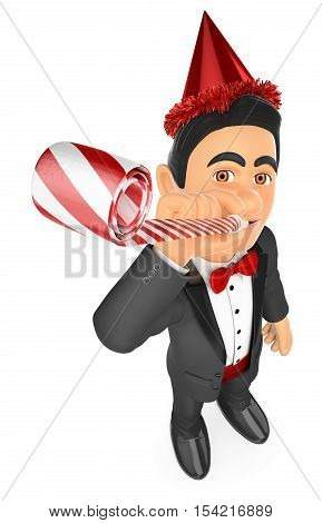 3d bow tie people illustration. Tuxedo man in a party celebration with blower and hat. Isolated white background.