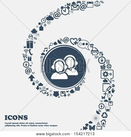 Call Center Icon In The Center. Around The Many Beautiful Symbols Twisted In A Spiral. You Can Use E