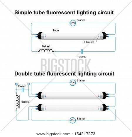 Single and Double tube fluorescent lighting circuit. Simple vector diagram