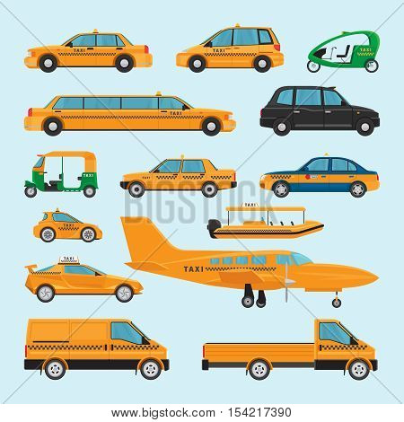 Taxi different types. Vector taxi car icons limousine and driving at night service, aircraft and rickshaw taxis