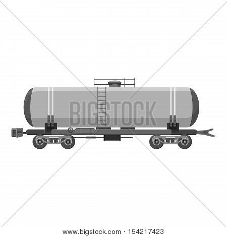 Tank car for gasoline icon. Gray monochrome illustration of tank car for gasoline vector icon for web