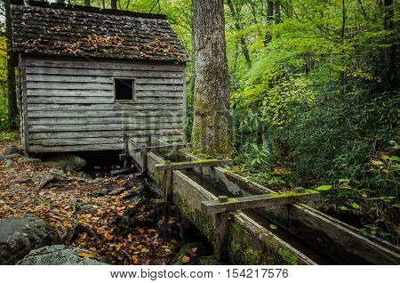 Old Smoky Mountain Mill. Historic mill on the Roaring Fork Motor Nature Trail in the Great Smoky Mountains National Park. Gatlinburg, Tennessee