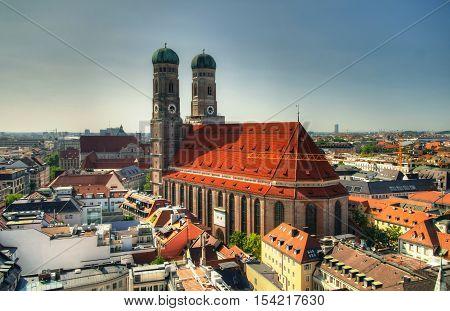Aerial view to Frauenkirche church Munich Germany