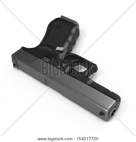 Automatic 9mm handgun pistol isolated on white background. 3D illustration