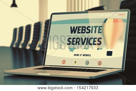 Website Services. Closeup Landing Page on Mobile Computer Screen. Modern Meeting Room Background. Toned Image. Selective Focus. 3D Rendering.