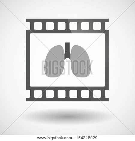 Isolated 35Mm Film Frame Slide Photogram With  A Healthy Human Lung Icon