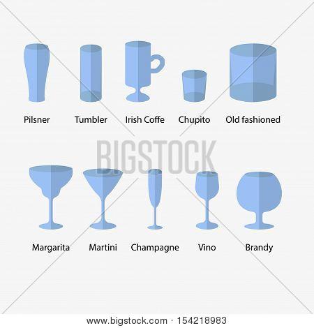 Stemware, Set Of Glasses Types