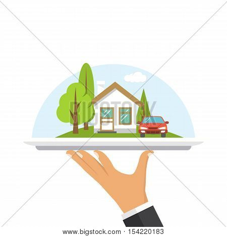 House on tray in hand agent. Offer real estate concept. Advertisement property. Sale of residential real estate. Vector illustration flat design. Isolated on white background. Selling renting home.