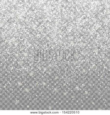 Snow falling background. Vector magic Christmas eve snowfall. White glitter snowflakes falling down on transparent background.