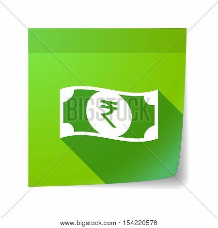 Isolated Sticky Note With  A Rupee Bank Note Icon
