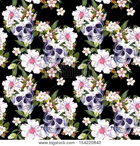 Human skulls with white flowers for Dia de Muertos holiday. Seamless pattern. Watercolor
