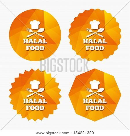 Halal food product sign icon. Chef hat with spoon and fork. Natural muslims food symbol. Triangular low poly buttons with flat icon. Vector