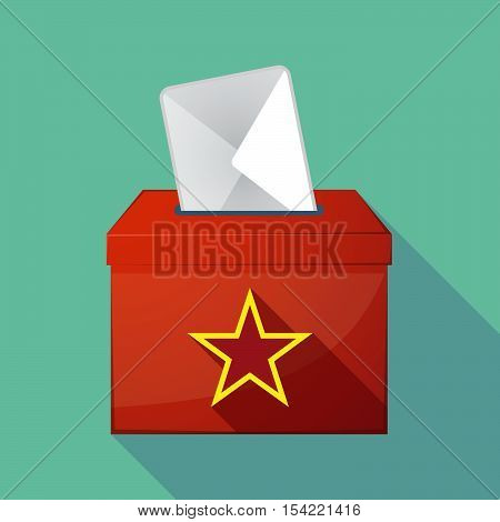 Long Shadow Ballot Box With  The Red Star Of Communism Icon