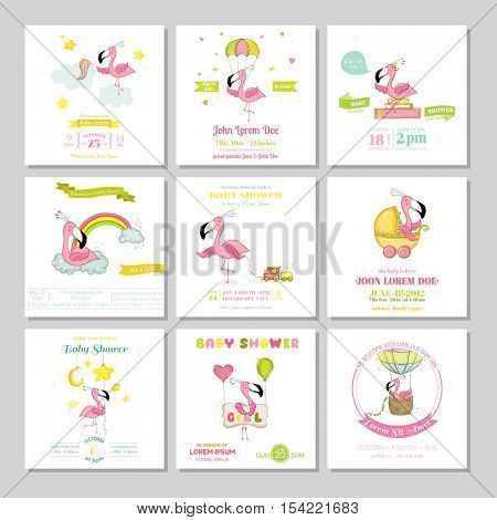 Baby Shower or Arrival Card - Baby Flamingo Girl Big Set - in vector