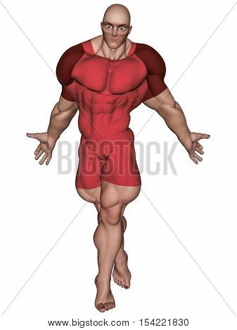 An isolated bald super hero in red tights 3D illustration.