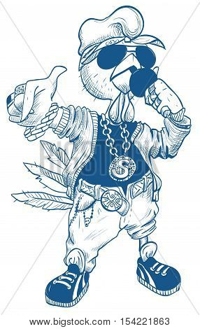 Brutal cock rapper. Blue Rooster symbol 2017. Isolated on white vector cartoon illustration